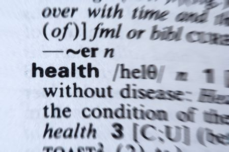 definition define: Health word in the dictionary. Zoom blur effect. Stock Photo