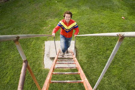 men climbing up the stairs in a park photo