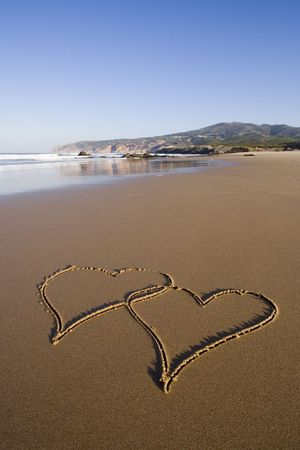 tho heart shapes writed on the beach sand photo