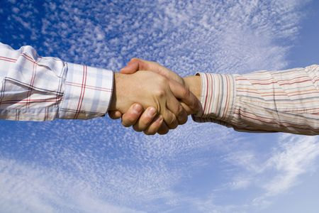 two businessman making a deal outdoor photo