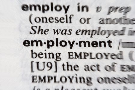 definition define: Word employment from a dictionary (zoom blur effect) Stock Photo