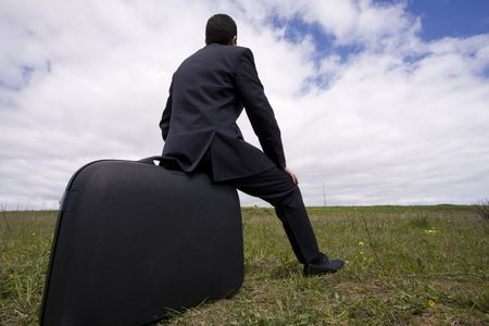 business traveler: business traveler, businessman sit in his baggage