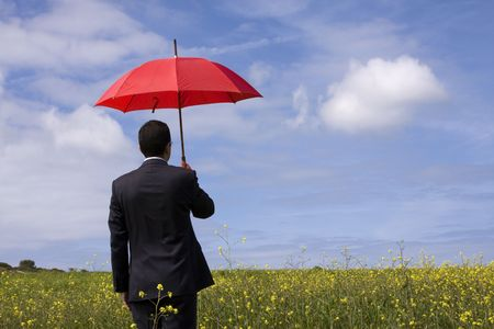 The insurance agent in the field, giving you the best protection everywhere (with copy space) Stock Photo - 2820204