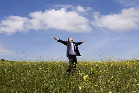 Businessman with his arms outstretched on a field with a blue sky photo