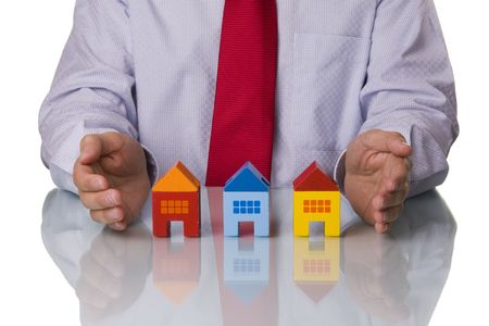 Real estate agent showing houses, isolated with reflection Stock Photo