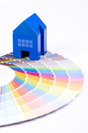 redecorate: background colorful palette with a toy house Stock Photo