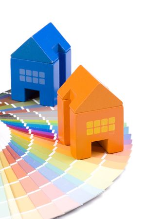 constrution: background colorful palette with a toy house Stock Photo