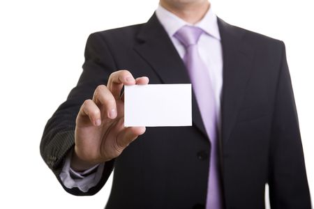 show cards: Businessman showing is card (selective and soft focus)