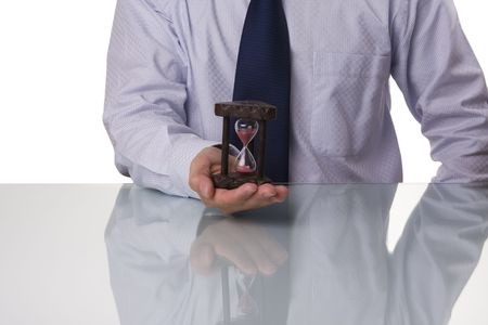Businessman saving his precious time (selective and soft focus) Stock Photo