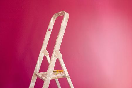 a construction ladder on a pink wall Stock Photo - 3118709