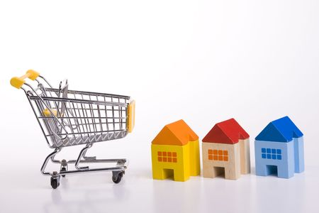 a shopping cart for buying houses Stock Photo - 3118704