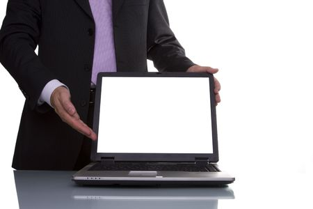 Businessman showing data on the laptop (copyspace on the laptop screen) Stock Photo - 3183736
