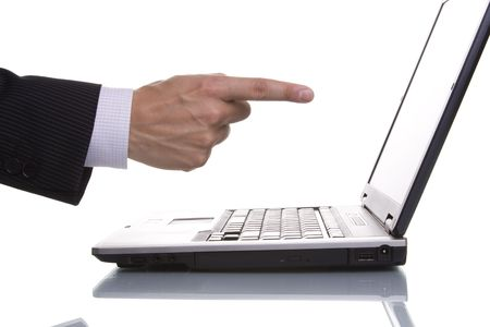 businessman pointing to the laptop lcd screen photo