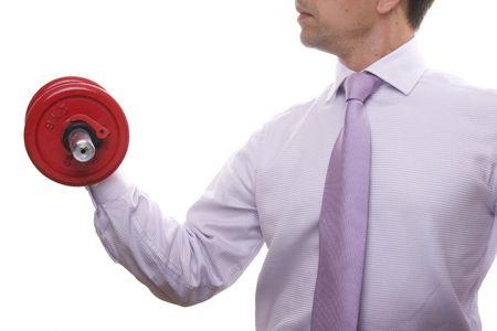 lifting weights: empresario levantar pesos (aislado en blanco)
