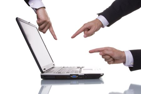 Three businessman hands pointing to a laptop (isolated with reflection) photo