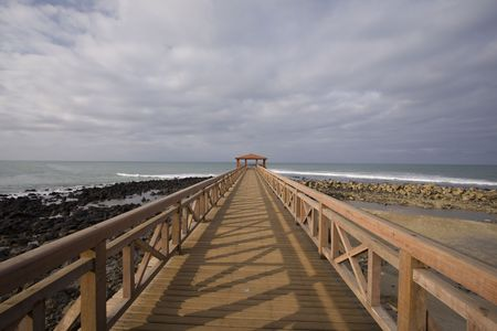 some bungalow at the end of a pier in a resort Stock Photo - 3357667