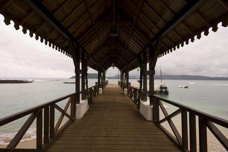 tome: The path to the resort in Sao Tome e Principe Stock Photo