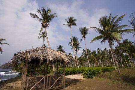 principe: una peque�a casa en la hermosa isla de Santo Tom� y Pr�ncipe  Foto de archivo