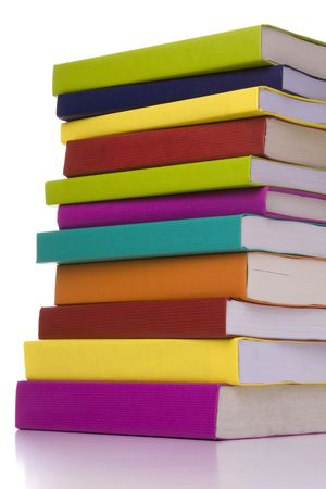big colorful stack of books isolated with reflection Stock Photo - 3473384
