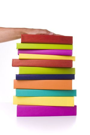 big colorful stack of books isolated with reflection Stock Photo - 3473455