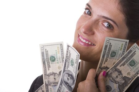 businesswoman showing her money from a jackpot Stock Photo - 3518184