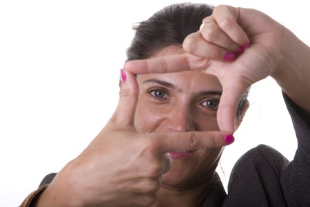 woman making a frame with her fingers  (selective focus) Stock Photo - 3518212