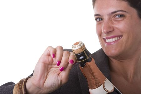 woman trying to open a bottle of champagne in the new year eve  (selective focus) Stock Photo - 3518211