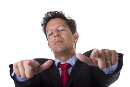 businessman looking powerful and pointing to you (selective focus) Stock Photo - 3518179