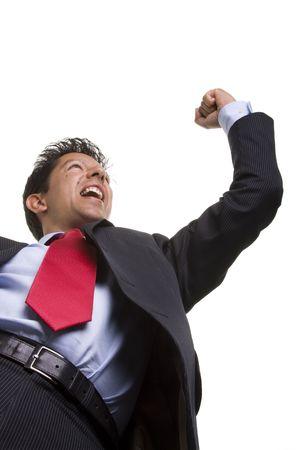 bellow: abajo la perspectiva de un hombre de negocios ganador reacci�n (enfoque selectivo) Foto de archivo