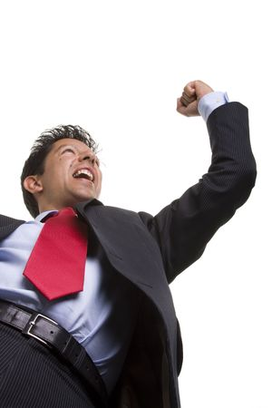 bellow perspective of a businessman winning reaction (selective focus) Stock Photo - 3518183
