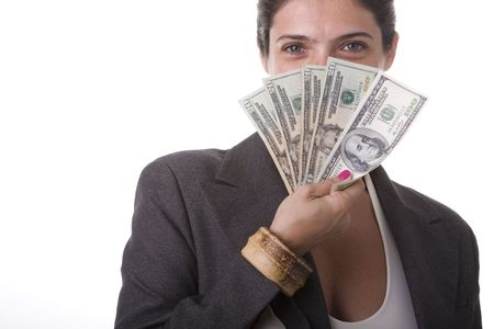 shy businesswoman showing the money she win Stock Photo - 3540386