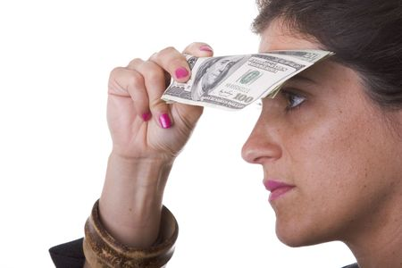 businesswoman trying to find more money Stock Photo - 3540380