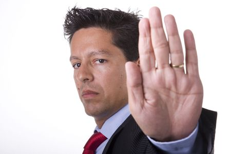businessman with his hand saying to stop (selective focus) Stock Photo - 3540304