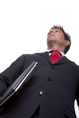 bellow: abajo de una perspectiva de hombre de negocios conf�a en llevar un ordenador port�til (enfoque selectivo) Foto de archivo