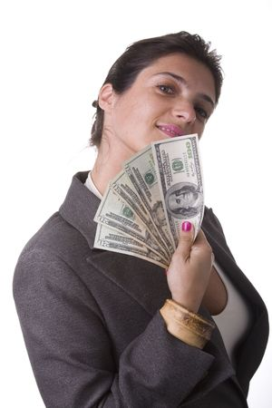 businesswoman showing the money she win Stock Photo - 3570396