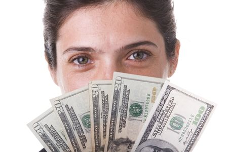 shy businesswoman showing the money she win Stock Photo - 3601092