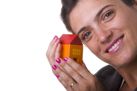 woman with her new house on her hands Stock Photo - 3601090