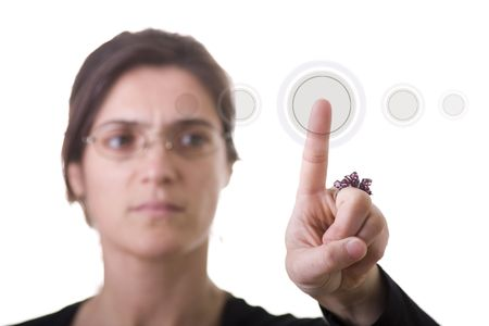 a businesswoman pressing a hi-tech button (you can write your command on the button: login, enter, start, yes, no, ...) Stock Photo - 3632072