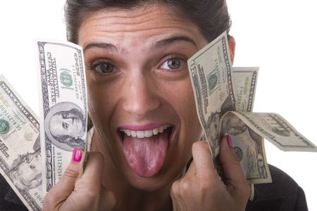 businesswoman showing her money from a jackpot Stock Photo - 3633717