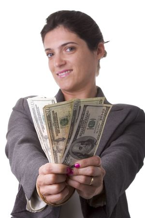 businesswoman showing her money from a jackpot (selective focus) Stock Photo - 3633715