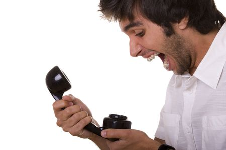 young men screaming to the telephone receiver  photo