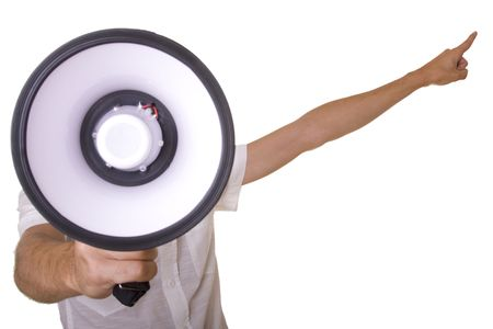 young men shouting at the megaphone (selective focus) Stock Photo - 3632076