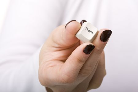 woman hand holding the www key from the keyboard photo