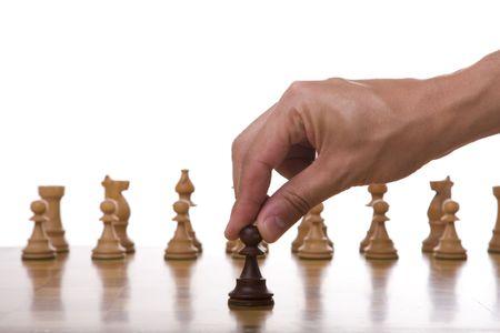 ajedrez: pe�n de la pieza lista para que el movimiento de (enfoque selectivo) Foto de archivo