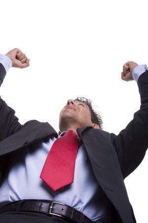 bellow: abajo la perspectiva de un hombre de negocios ganador de reacci�n (enfoque selectivo)