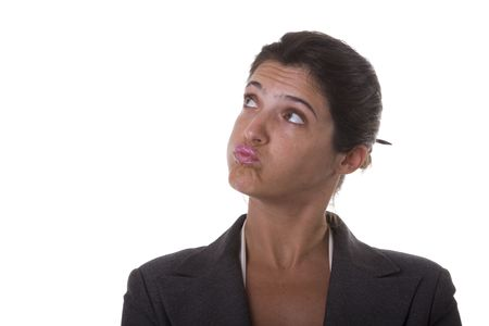 Annoyed businesswoman looking to the copyspace (isolated on white) Stock Photo - 3699723