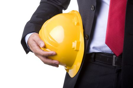 engineer yellow helmet for workers security (over white) Stock Photo - 3702134