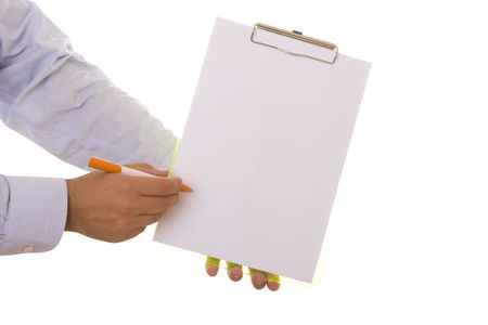 businessman with a pen pointing to the copy space on a paper (isolated on white) Stock Photo - 3702123