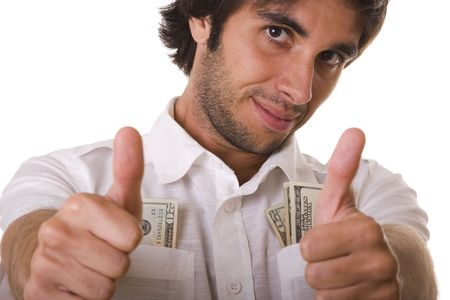 wealthy and happy man showing his money (selective focus) Stock Photo - 3732473