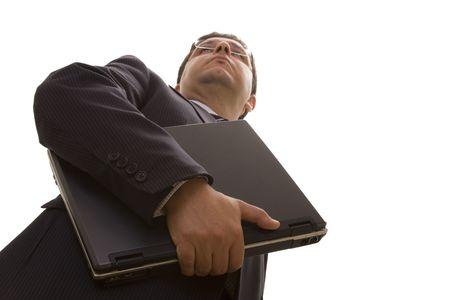 bellow: abajo la perspectiva de un hombre de negocios conf�a en llevar un port�til (enfoque selectivo)